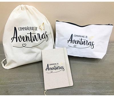 Kit orgánico Compañeras de Aventuras con petate de algodón, libreta y neceser como regalo para amigas, hermanas, primas, compañeras de trabajo