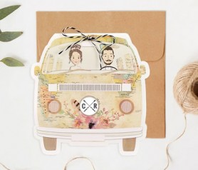 Original invitación de boda en forma de furgoneta