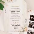 Texto de la invitación de boda en impresión digital y fotos polaroid