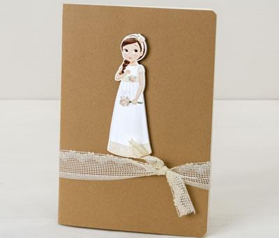 Libreta con niña comunión trenza decorada como detalle para tus invitados