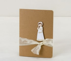 Libreta pequeña con niña comunión trenza decorada como detalle para tus invitados