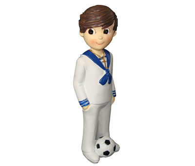 Figura comunión niño con pelota de fútbol vestido de marinero para la tarta
