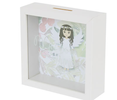 Hucha de madera niña de comunión como regalo para los invitados o el comulgante