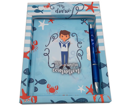 Set de diario y bolígrafo con comulgante como detalle para los invitados