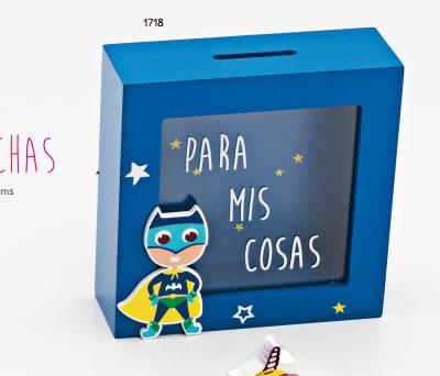 Hucha de madera azul de superhéroe para regalar como regalo de cumpleaños, en fiestas infantiles o como detalle para niños pequeños