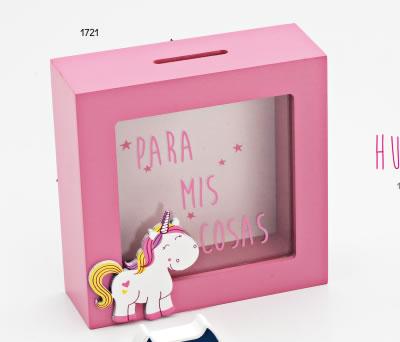 Hucha de madera de unicornio rosa para regalar como regalo de cumpleaños, en fiestas infantiles o como detalle para niñas pequeñas