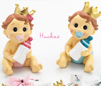 Huchas de bebés con corona y pañal azul o rosa perfecto como detalle de bautizo