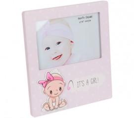 Portafotos bebé niña rosa para personalizar como detalle de bautizo, babyshower o para regalar al bebé recién nacido