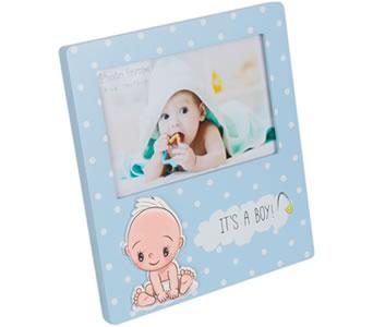Portafotos bebé niño azul para personalizar como detalle de bautizo, babyshower o para regalar al bebé recién nacido