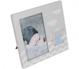 Portafotos de madera gris para bebés con elefante para personalizar como detalle de bautizo o babyshower o para regalar al bebé recién nacido