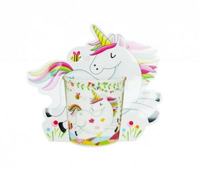 taza unicornio con cartón decorativo para las niñas invitadas a la comunión