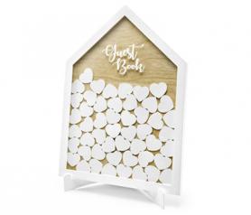 Libro de firmas original en forma de casa con corazones blancos para decicarles a los novios unas palabras.fw