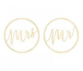corona madera Mr Mrs como complemento para tu boda y decoración