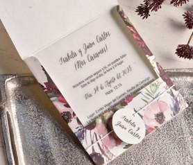 Invitación de boda 2020 flora con tarjetón en papel vegetal