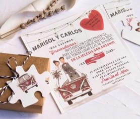 Invitación de boda 2020 puzzle con caja craft