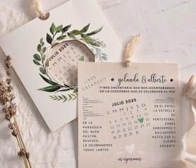 Invitación de boda corona laurel calendario