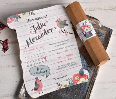 Invitación de boda en cilindro hexagonal con ilustración de pajaritos