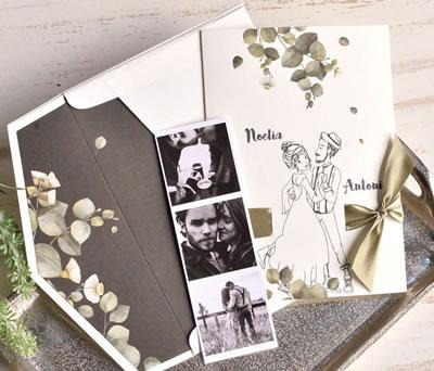 Invitación de boda novios con forro de sobre y posibilidad de incluir fotografías