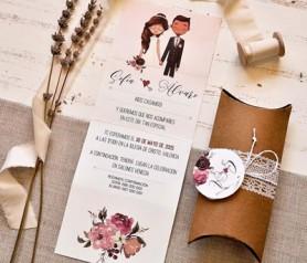 Invitación de novios boda 2020 ilustración en caja kraft