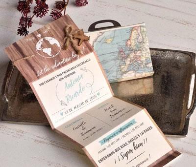 Original invitación en maleta del mundo