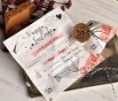 Texto de la original invitación de boda comecocos en caja kraft ilustrada