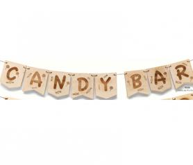 """PRIVADO: GUIRNALDA MADERA """"CANDY BAR"""". LETRA 11 X 9 CMS."""