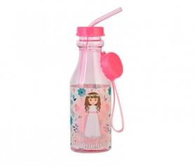 botella con tapón y caña con imagen de comulganta y comulgante como detalle para los invitados