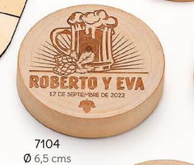 ABREBOTALLES-IMÁN MADERA JARRA PERSONALIZADO NOVIOS. Ø 6.5 cms. (MÍNIMO 15 uds.). ADOP7104