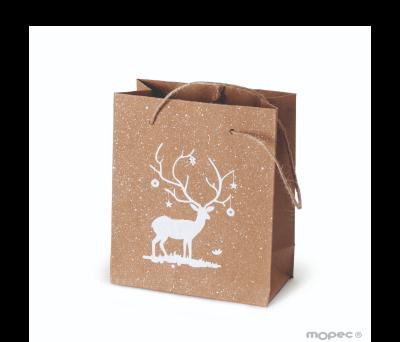 Bolsa Kraft 12x15cm ciervo blanco asas y purpurina. min.12u. AE5120