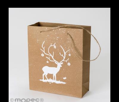 Bolsa Kraft 20x25cm ciervo blanco asas y purpurina. min.6u. AE512