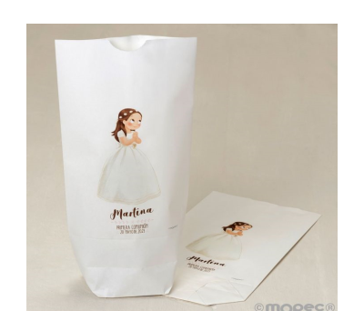 Bolsa papel blanco niña Comun vestido largo 12x21X5cm.min.25 AE931