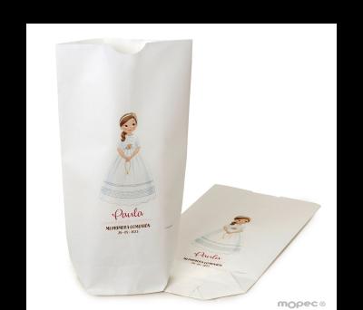 Bolsa papel blanco niña Comunión y rosario 12x21X5cm.min.25 AE858