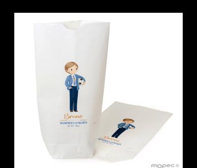 Bolsa papel blanco niño Comunión con pelota12x21X5cm..min.25 AE651
