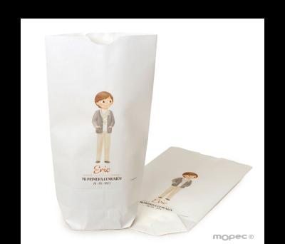 Bolsa papel blanco niño Comunión y foulard 12x21X5cm..min.25 AE737