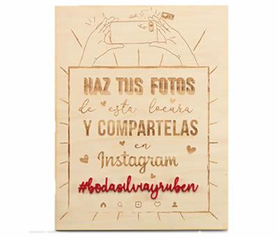 "CARTEL MADERA BODA REDES SOCIALES ""HASHTAG"" PERSOLIZADO. 40 x 30 cms. ADOP7043"