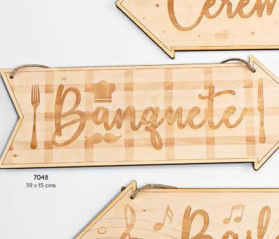 """CARTEL MADERA DIRECCIÓN """"BANQUETE"""" (SENTIDO DERECHA O IZQUIERDA). 39 x 15 cms. ADOP7048"""