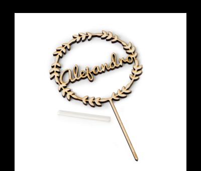 Cake topper forma corona con 1 nombre 10x17.5cm. AW285