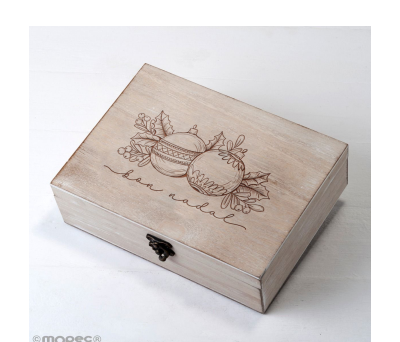 Cofre madera navideño Bolas y Acebo 23x17cm (CAT) - ANW1602.2