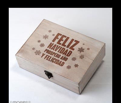 Cofre madera navideño Mensaje 23x17cm - ANW1613.1