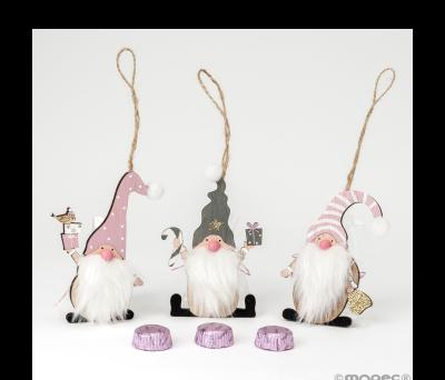 Colgante Gnomo madera rosa/gris 1bombón 3surtido. min6 ANWB8900