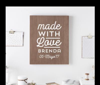 Cuadro madera Made with Love AWL-9608476