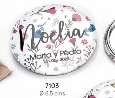 ESPEJO MAQUILLAJE PERSONALIZADO NOVIOS Y NOMBRE INVITADA C/BOLSITA. Ø 6.5 cms. (MÍNIMO 15 uds.). ADOP7103