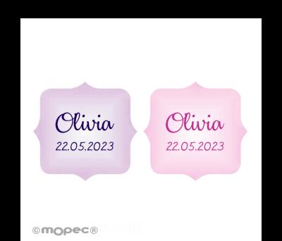 Etiq. adhesivas escudo rosa y lila stdo. 1hj=54. min.5 AX445