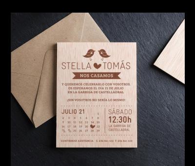 Invitación boda madera Calendar AWL-7160045