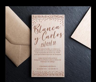 Invitación boda madera Confeti AWL-8143034
