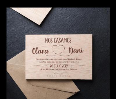 Invitación boda madera Corazón AWL-7311749