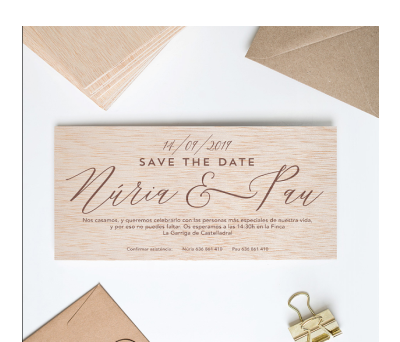 Invitación boda madera Elegant AWL-5425687