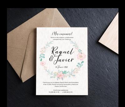Invitación boda madera Floral AWL-6088245