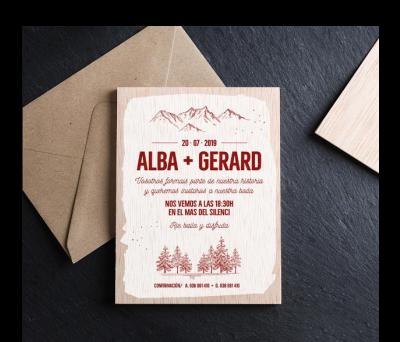 Invitación boda madera Mountain AWL-525949