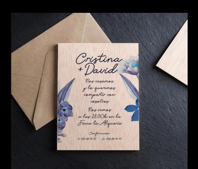 Invitación boda madera Pandora AWL-4078685